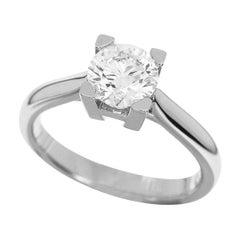 Harry Winston 0.78 Carat Diamond Platinum HW Ring