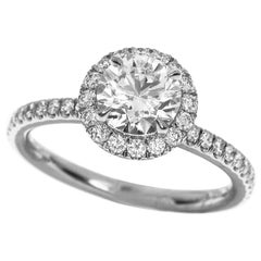 Harry Winston 0.78 Carat Diamond Platinum Micropavé Engagement Solitaire Ring