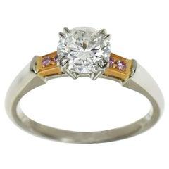 Harry Winston 0.95 Carat Diamond Platinum 18 Karat Pink Gold Tryst Ring
