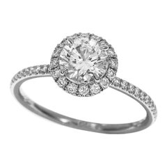 Harry Winston 1.01 Carat Round Brilliant Diamond Platinum Micropavé Ring