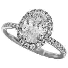 Harry Winston 1.09 Carat Oval Shaped Diamond Platinum Micropavé Ring
