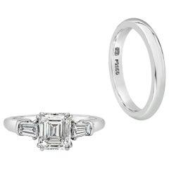 Harry Winston 1.11 Carat Emerald Cut Diamond Three-Stone Engagement Ring