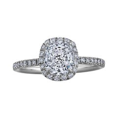 Harry Winston 1.28 Carat Cushion Cut Diamond Platinum Engagement Ring