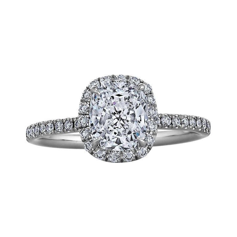 Harry Winston 1.28 Carat Cushion Cut Diamond Platinum Engagement Ring For Sale