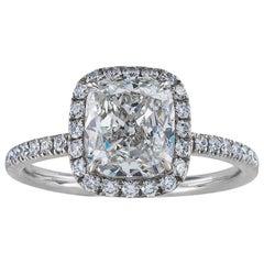 Harry Winston 1.60 Carat F Color Diamond Solitaire Platinum Engagement Ring