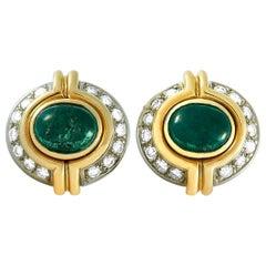 Harry Winston 18 Karat Yellow Gold 0.40 Carat Diamond and Emerald Stud Earrings