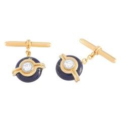 Harry Winston 18 Karat Yellow Gold 0.40 Carat Diamond and Lapis Cufflinks