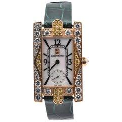 Harry Winston 18k Yellow Gold White and Yellow Diamond Avenue C Ladies Watch