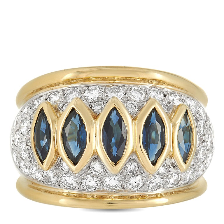 Harry Winston 18k Yellow Gold 1.50 Ct Diamond and Sapphire Ring In Excellent Condition In Southampton, PA