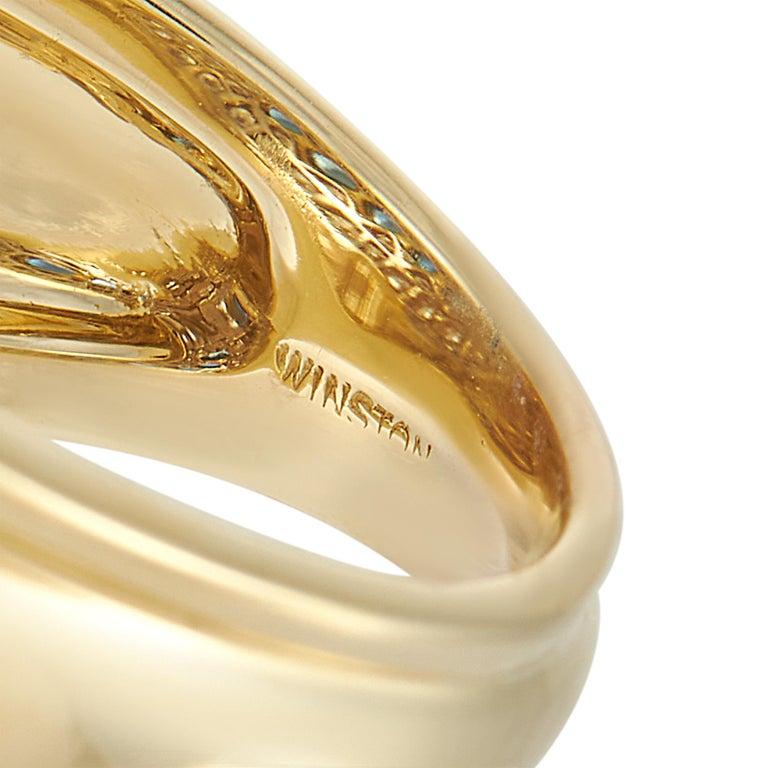 Women's Harry Winston 18k Yellow Gold 1.50 Ct Diamond and Sapphire Ring