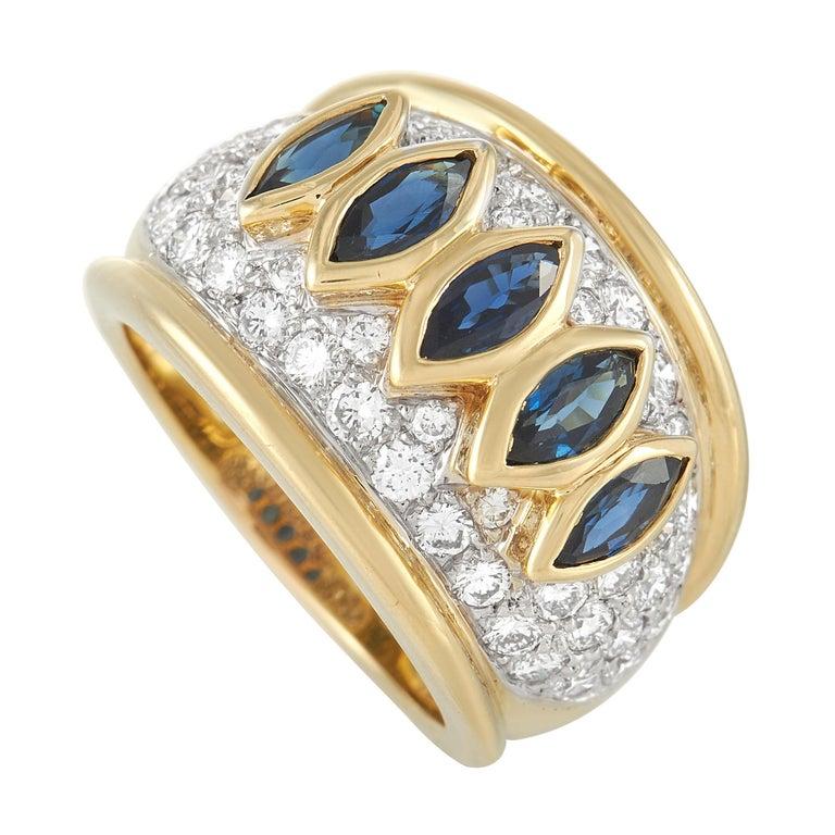 Harry Winston 18k Yellow Gold 1.50 Ct Diamond and Sapphire Ring