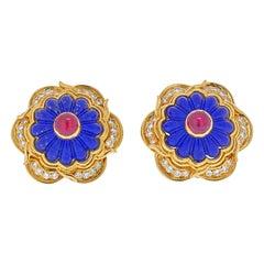Harry Winston 18k Yellow Gold Laois, Ruby, Diamond Earrings