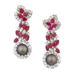 Harry Winston 1970s Diamond Ruby Tahitian Black Pearl Earrings in Platinum