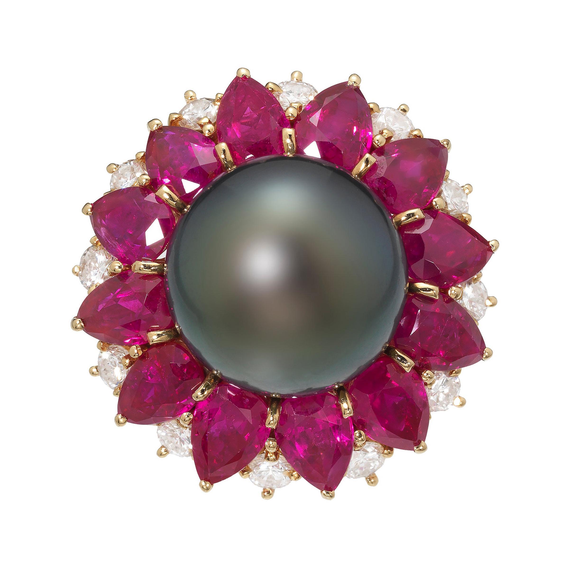 Harry Winston 1970s Diamond Ruby Tahitian Black Pearl Ring in 18K Gold
