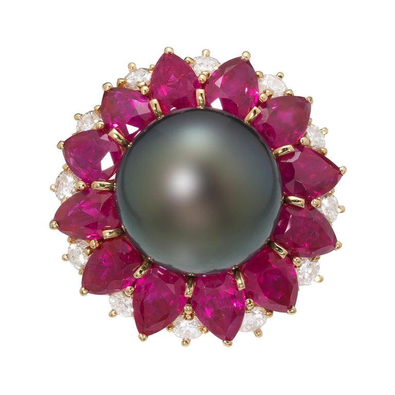 Harry Winston 1970s Diamond Ruby Tahitian Black Pearl Ring in 18K Gold For Sale