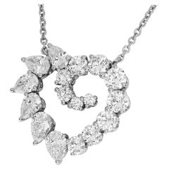 Harry Winston 2.00 Carat Diamond Platinum Open Cluster by HW Heart Pendant Small