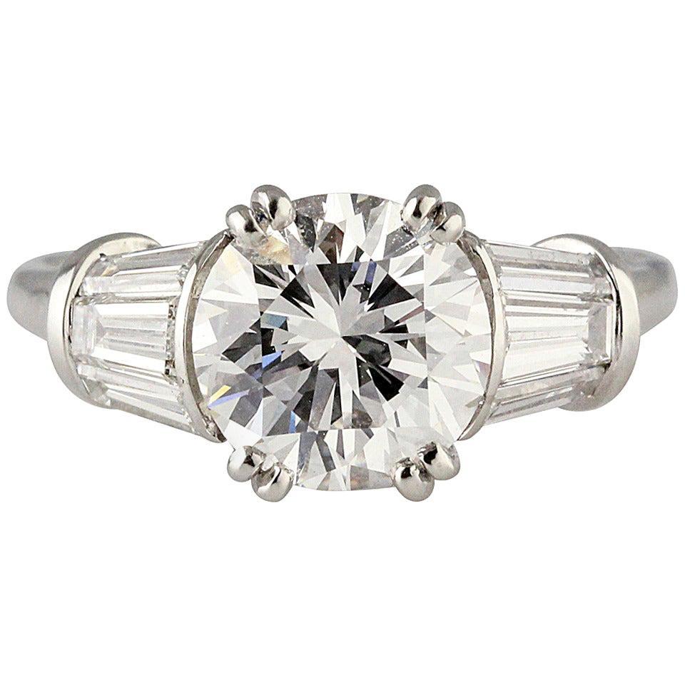 Harry Winston 2.02 Carat E Color VS1 Round Diamond Engagement Ring
