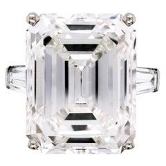 Harry Winston 24.19 Carat Emerald Cut J color VS2 GIA Certified Platinum Ring