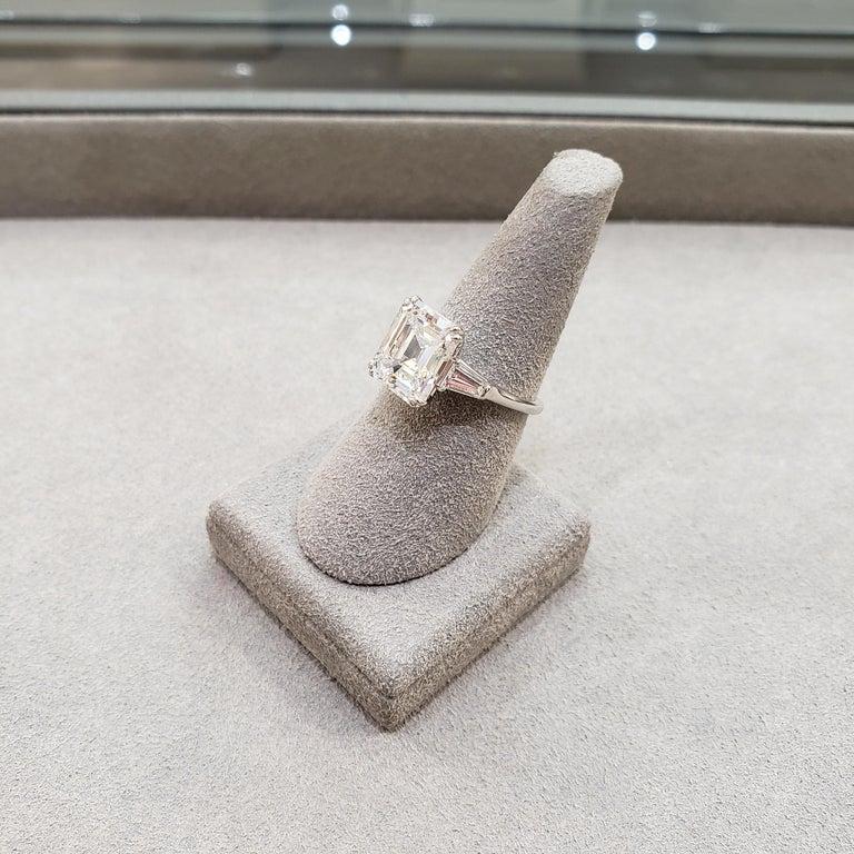 Harry Winston 4.01 Carat Emerald Cut Diamond Three-Stone Engagement Ring For Sale 6