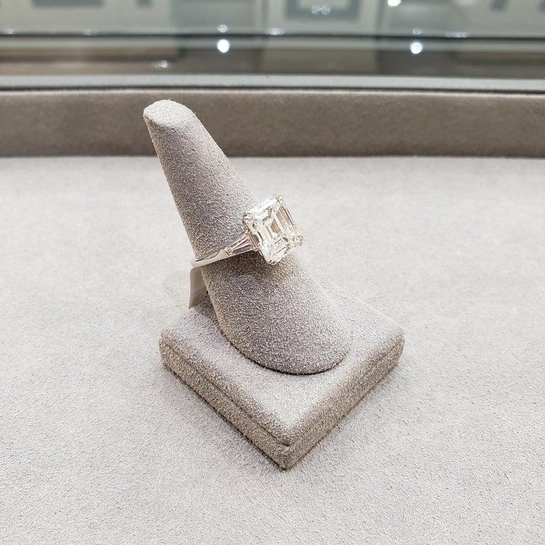 Harry Winston 4.01 Carat Emerald Cut Diamond Three-Stone Engagement Ring For Sale 7