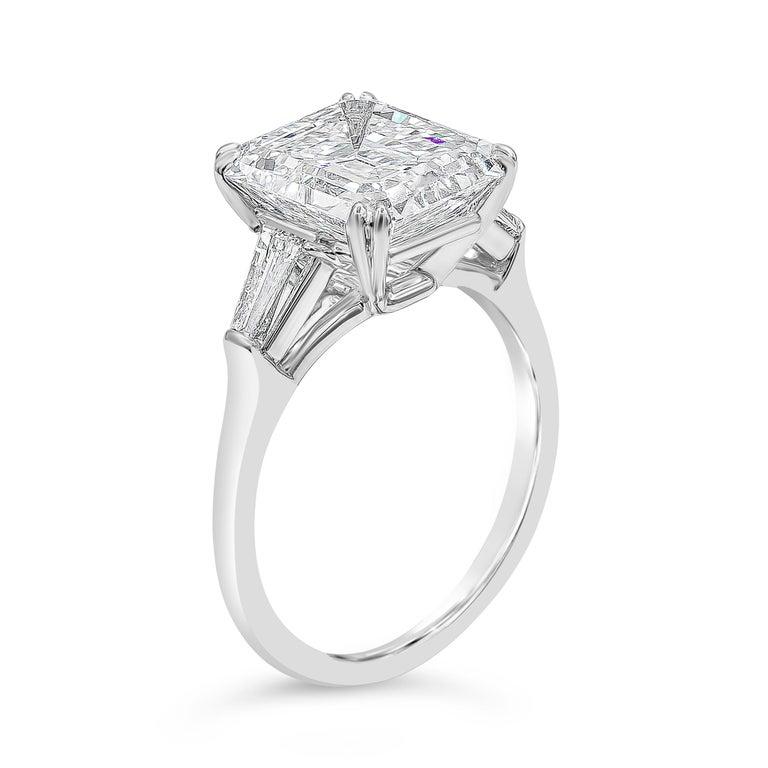 Contemporary Harry Winston 4.01 Carat Emerald Cut Diamond Three-Stone Engagement Ring For Sale