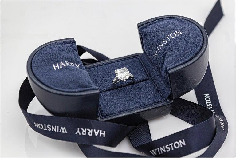 Harry Winston 4.01 Carat Emerald Cut Diamond Three-Stone Engagement Ring For Sale 1