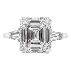 Harry Winston 4.01 Carat Emerald Cut Diamond Three-Stone Engagement Ring