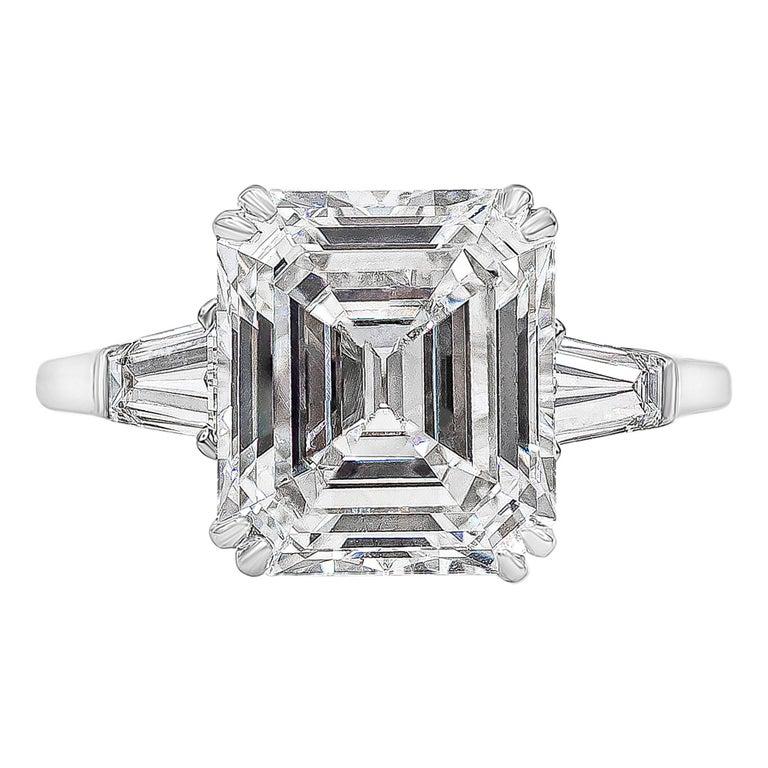 Harry Winston 4.01 Carat Emerald Cut Diamond Three-Stone Engagement Ring For Sale
