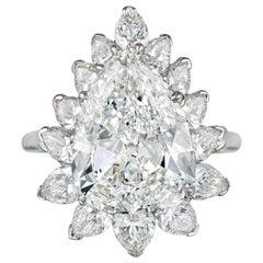 Harry Winston 4.51 Carat Pear Shaped Diamond Ring