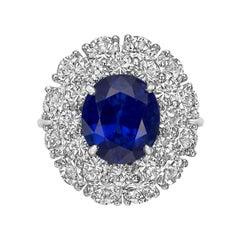 Harry Winston 4.57 Carat No-Heat Burmese Sapphire Ring