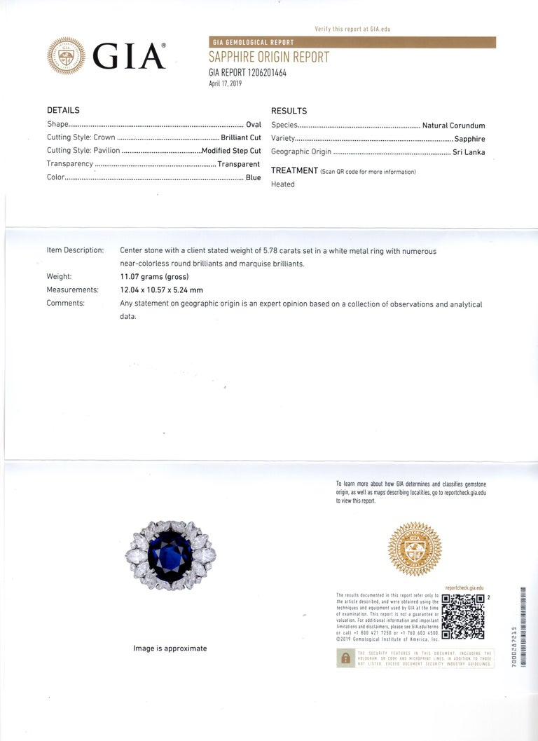 Harry Winston 5.78 Carat Natural Sapphire and Diamond Platinum Cocktail Ring For Sale 3
