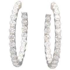 Harry Winston 8.17 Carat Diamond and Platinum Inside Out Hoops Earrings