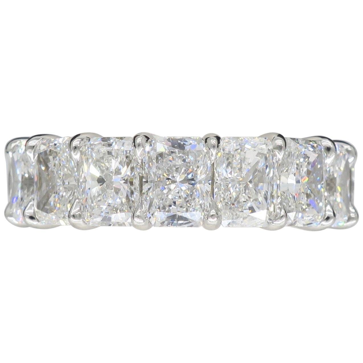 Harry Winston 9.35 Carat Radiant Diamond Platinum Eternity Rock Band Ring