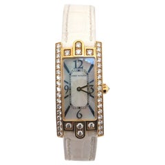 Harry Winston Avenue C Quartz Watch Yellow Gold and Alligator with Diamond Bezel
