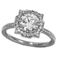 Harry Winston Belle by 0.73 Carat Diamond Platinum Micropavé Solitaire Ring
