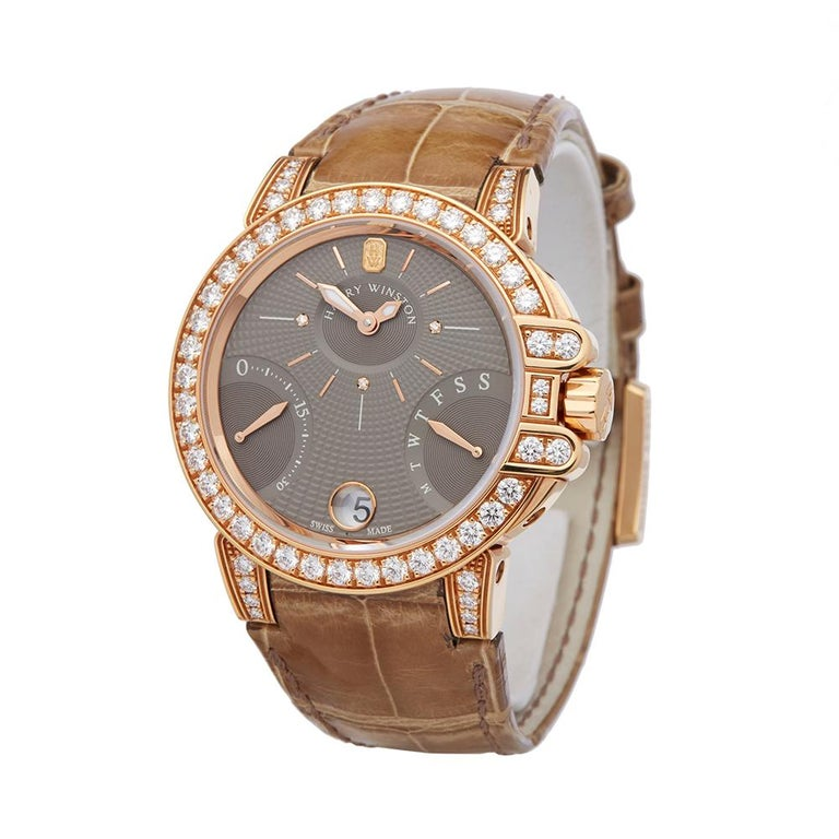 Ref: W5660 Manufacturer: Harry Winston Model: Ocean Model Ref: OCEAB136RR023 Age: 13th November 2018 Gender: Ladies Complete With: Box, Manuals & Guarantee Dial: Grey Baton Glass: Sapphire Crystal Movement: Automatic Water Resistance: To