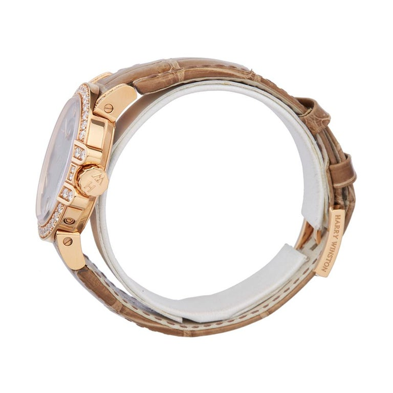 Modern Harry Winston Biretrograde 18K Rose Gold OCEAB136RR023 Wristwatch For Sale