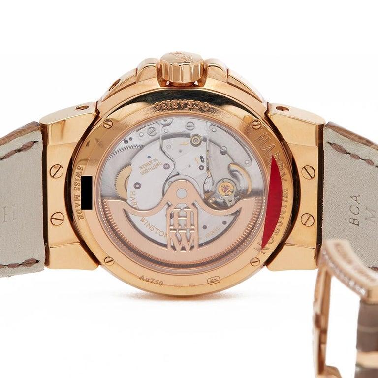 Harry Winston Biretrograde 18K Rose Gold OCEAB136RR023 Wristwatch For Sale 1
