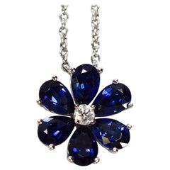 Harry Winston Blue Sapphire Diamond Platinum Forget Me Not HW Pendant Necklace