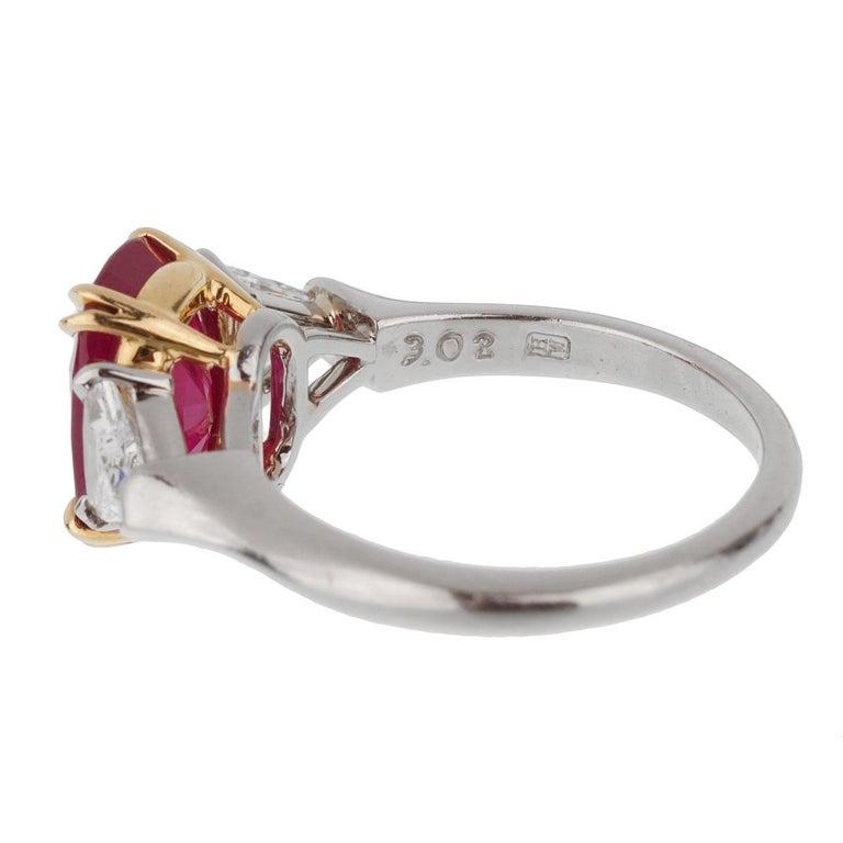Oval Cut Harry Winston Burma Ruby Diamond Platinum GIA Certified Ring For Sale