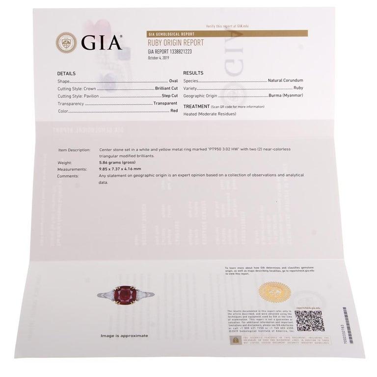 Women's or Men's Harry Winston Burma Ruby Diamond Platinum GIA Certified Ring For Sale