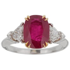 Harry Winston Burma Ruby Diamond Platinum GIA Certified Ring
