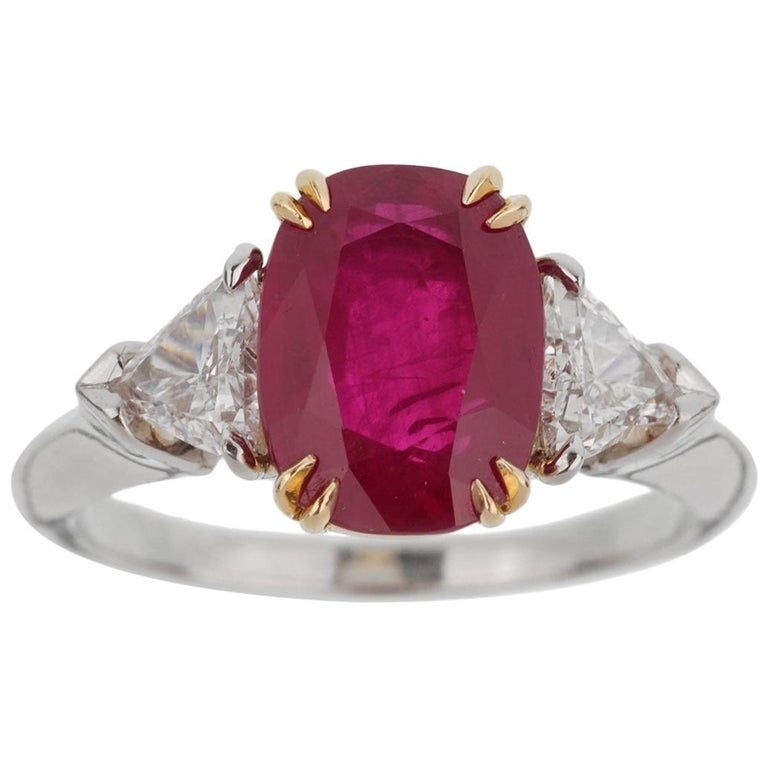 Harry Winston Burma Ruby Diamond Platinum GIA Certified Ring For Sale