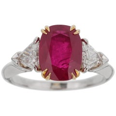 Harry Winston Burma Ruby Diamond Platinum Ring