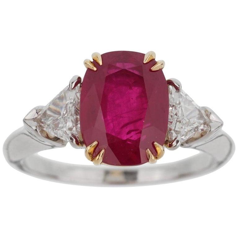 Harry Winston Burma Ruby Diamond Platinum Ring For Sale