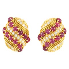 Harry Winston Cabochon Ruby and Diamond Earrings