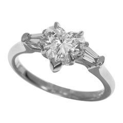 Harry Winston Classic Heart GIA Diamond 1.01 Carat Solitaire Ring Platinum