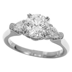 Harry Winston Classic Round Brilliant 1.01ct Diamond Solitaire Ring Pear Shaped