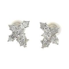 Harry Winston Cluster by HW Marquis Pear Shape Diamond Platinum Earrings