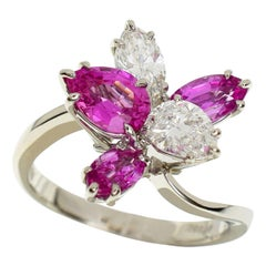 Harry Winston Cluster by HW Pink Sapphire and Diamond Platinum Ring